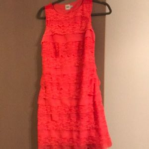 ASOS coral, lace tiered dress